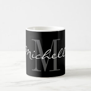 Glamourous black and white name monogram coffee coffee mug