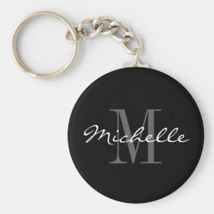 Glamourous black and white name monogram keychain