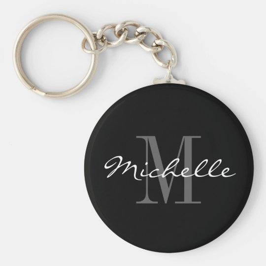 Glamourous black and white name monogram keychain