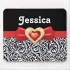 Glamourous Black white damask & red bow and jewel Mouse Mat