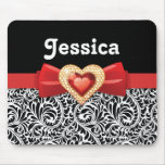 Glamourous Black white damask & red bow and jewel Mouse Pad