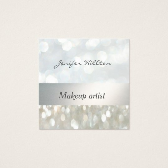 Glamourous chic bokeh silver stripe square business card