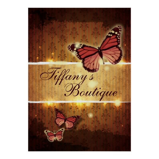 Glamourous Damask ButterFly Fashion Business Poster