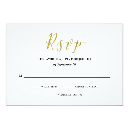 Glamourous Faux Gold Classic Wedding RSVP Card