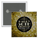 Glamourous Glitter Happy 50th Birthday 2 15 Cm Square Badge