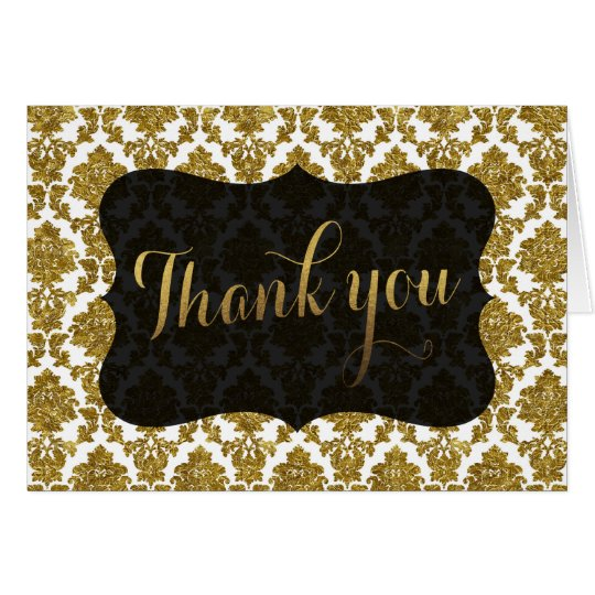 Glamourous Gold Damask Gold Foil Wedding THANK YOU