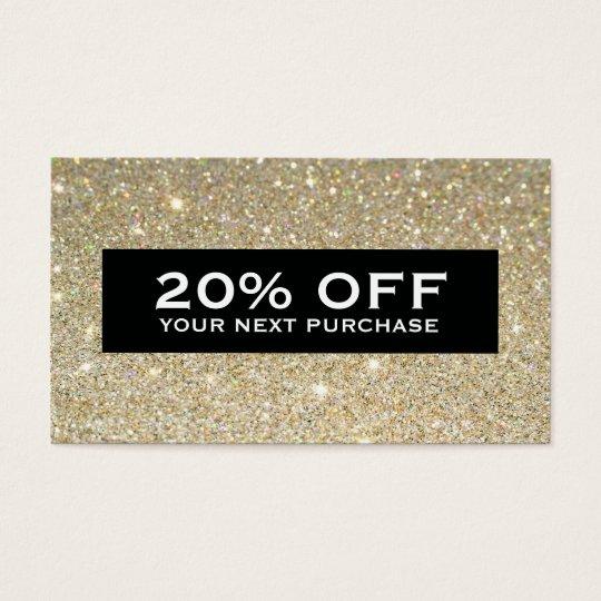 Glamourous Gold Glitter Modern Beauty Coupon Card