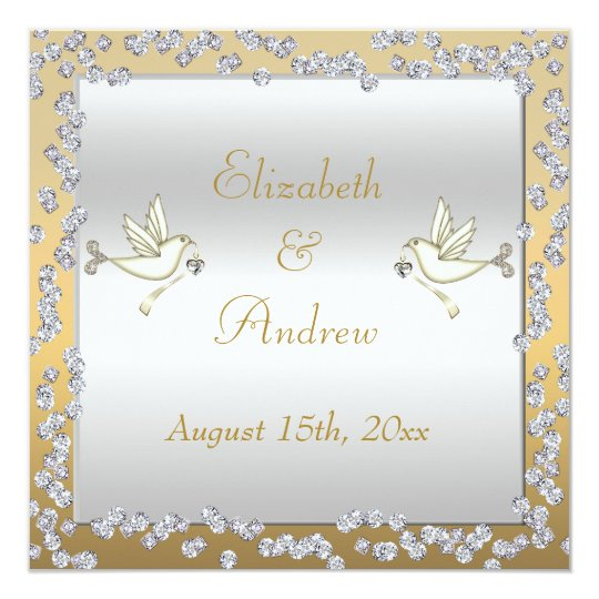 Glamourous Gold & Silver Diamonds & Doves Wedding