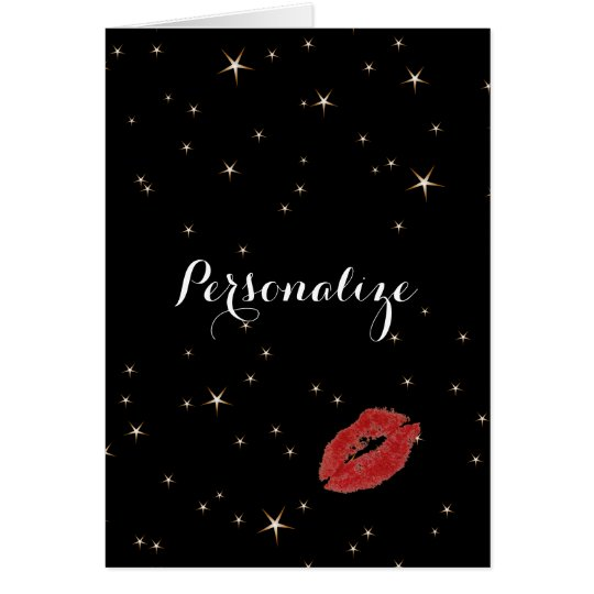 Glamourous Gold Stars with Red Lipstick Kiss Card