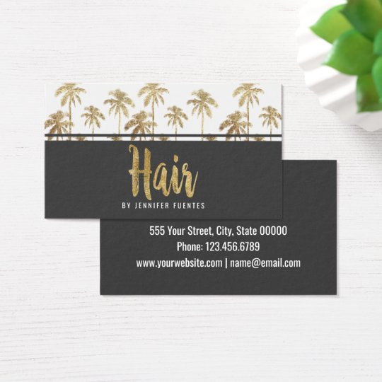 Glamourous Gold Tropical Palm Trees Hair Stylist Business
