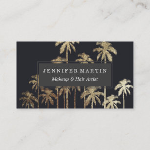 Palm tree leaf business cards zazzle uk glamourous gold tropical palm trees on black business card colourmoves