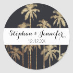 Glamourous Gold Tropical Palm Trees on Black Round Sticker