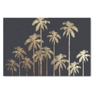 Glamourous Gold Tropical Palm Trees on Black Tissue Paper