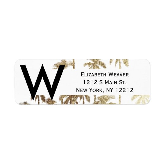 Glamourous Gold Tropical Palm Trees on White Return Address Label