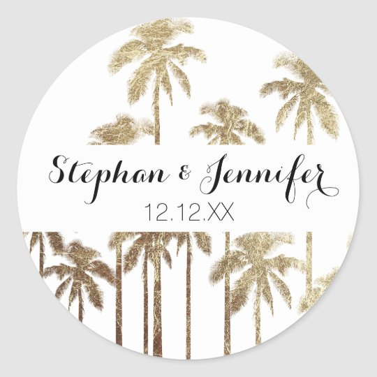 Glamourous Gold Tropical Palm Trees on White Round