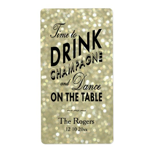 Glamourous Gold Wine Label Shipping Label