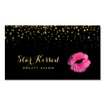 Glamourous Hot Pink Kiss With FAUX Gold Glitter Pack Of Standard Business Cards