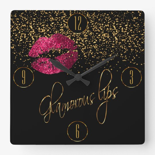 Glamourous Hot Pink Lips and Gold Confetti Square
