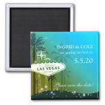 Glamourous Las Vegas Wedding Save the Date Square Magnet
