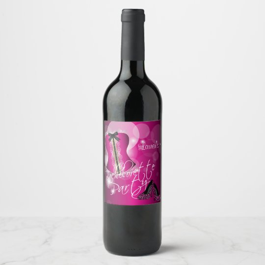 Glamourous Lingerie Bachelorette Party    Hot Pink Wine Label