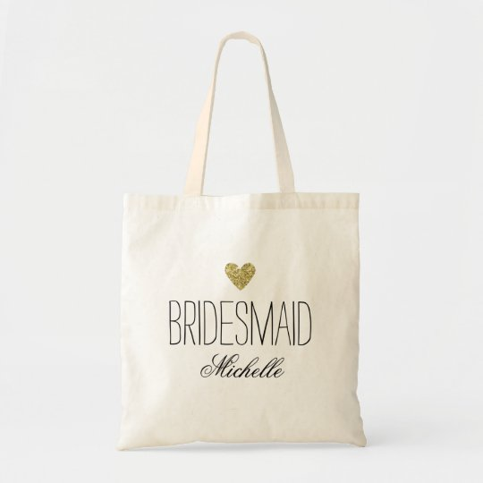 Glamourous PersonalizedBridesmaid Glitter Heart Tote Bag