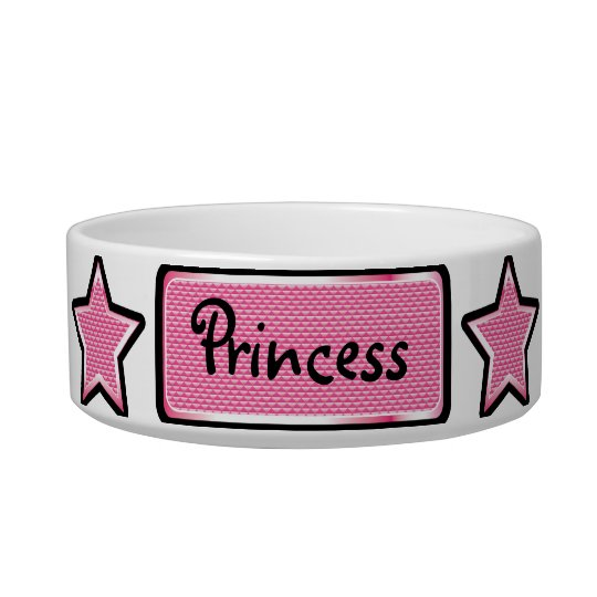 Glamourous Pink Bling Stars & Tag Pet Bowl