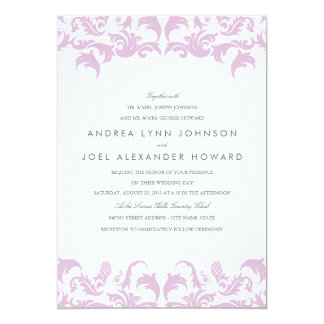 Glamourous Purple Damask Wedding Invitation
