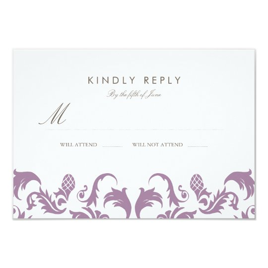 Glamourous Purple Damask Wedding RSVP Card