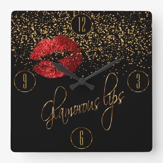 Glamourous Red Lips and Gold Confetti Wall Clocks