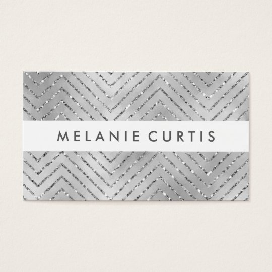 Glamourous Silver Glitter Chevron Business Business Card