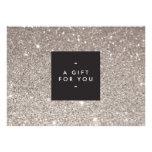 Glamourous Silver Glitter Modern Beauty Gift Card Invite