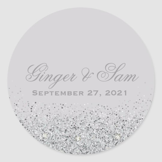 Glamourous Silver Glitter Wedding Stickers