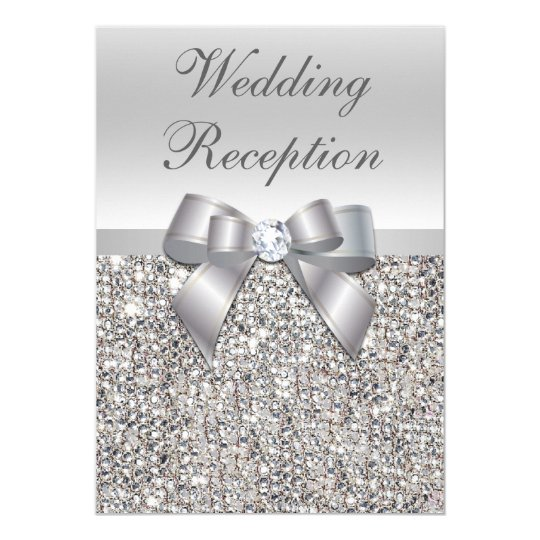 Glamourous Silver Sequins Bow Wedding Reception Card