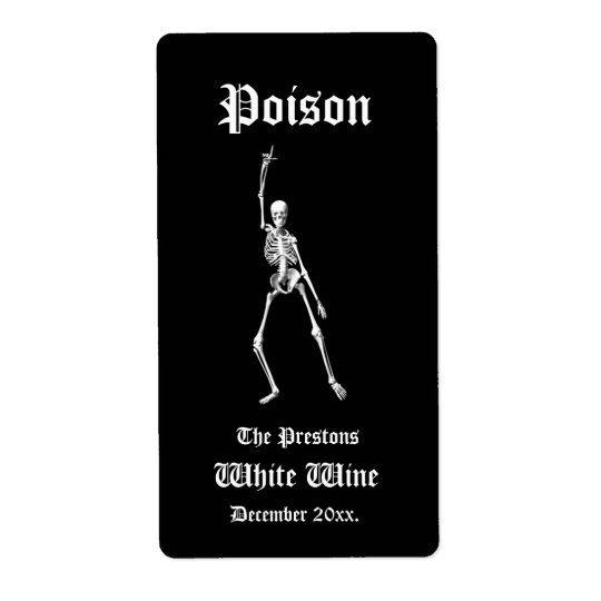 Glamourous Skeletons Poison Wine Label Shipping Label