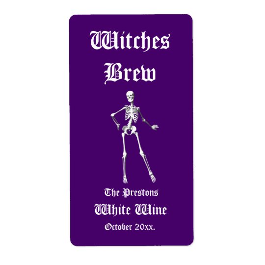 Glamourous Skeletons Witches Brew Wine Label purpl Shipping