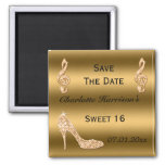 Glamourous Sweet 16 Save The Date Gold Stiletto Square Magnet