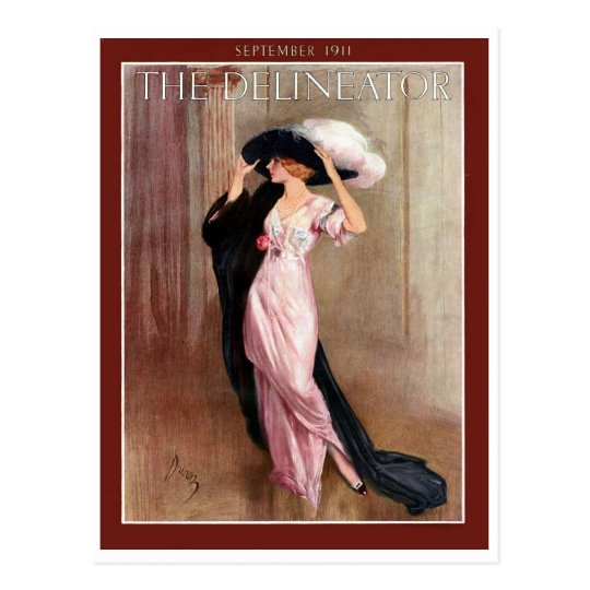 Glamourous Vintage Edwardian Woman in Pink Gown Postcard