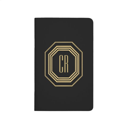 Glamourous Vintage Gold Art Deco Initials Monogram Journal