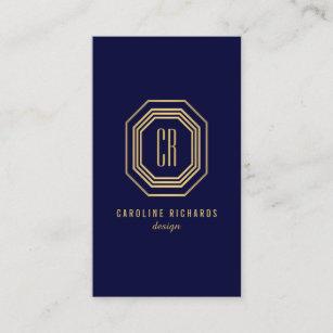 Art deco business cards business card printing zazzle uk glamourous vintage gold art deco monogram dk blue business card colourmoves