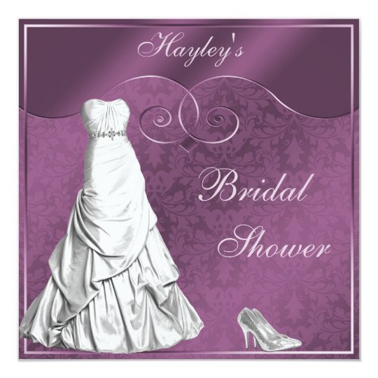 Glamourous Wedding Gown Purple Bridal Shower Card