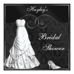Glamourous White Gown Black Silver Bridal Shower 13 Cm X 13 Cm Square Invitation Card