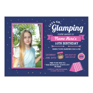 Glamping Camp Photo Sleep Over Girl's Invitation