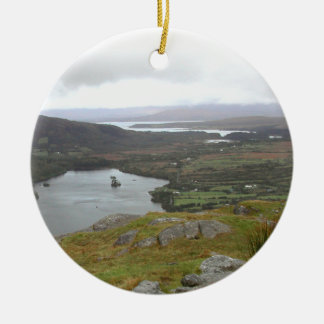 Glanmore Lake from Healy Pass Ireland. Round. Round Ceramic Decoration