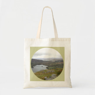 Glanmore Lake from Healy Pass Ireland. Round. Tote Bag