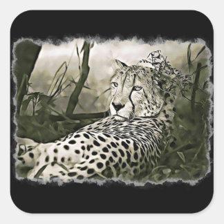 Glaring Cheetah Black Stickers