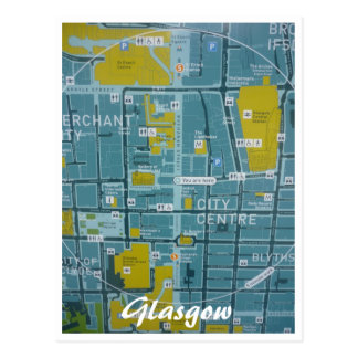glasgow city map post card