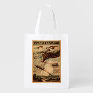 Glasgow Hot Air Balloon Circus Theatre Poster Reusable Grocery Bag