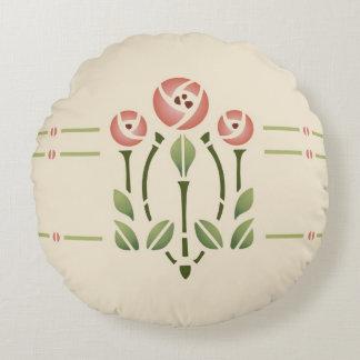 Glasgow Rose Stencil Design by Helen Foster Round Cushion