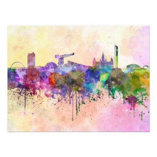 Glasgow skyline in watercolor background photo print