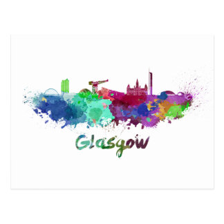 Glasgow skyline in watercolor postcard